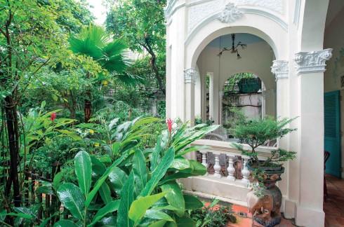 Ngôi nhà nằm giữa một vườn cây um tùm, được phát triển tự nhiên, tạo nên một khung cảnh như trong tiểu thuyết