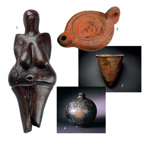 1.Venus of Dolní Věstonice - Bức tượng gốm cổ nhất từng được khai quật (Czech) 2.Đèn dầu thời Ai Cập cổ đại 3.Chậu gốm Jomon (Nhật Bản) 4.Bình gốm đen cổ đại (Trung Hoa).