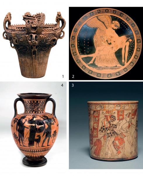 1.Bình đựng thời Jomon (Nhật Bản) 2.Sản phẩm gốm nền đen họa tiết đỏ (Hy Lạp) 3.Bình đựng gốm (Maya) 4.Bình gốm đỏ họa tiết đen (Hy Lạp)