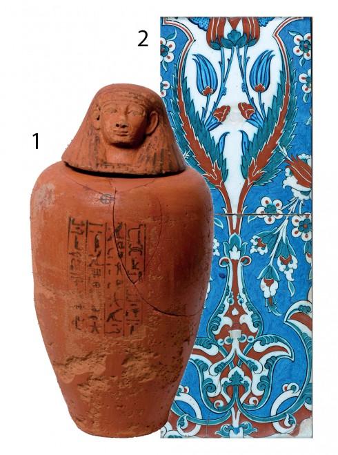 1.Chum có nắp (Ai Cập cổ đại) 2.Gạch trang trí tường khoảng thế kỷ XVI (Trung Đông)