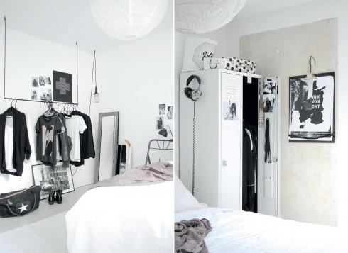 Phòng ngủ: Giá treo quần áo tự thiết kế và làm bởi thợ rèn địa phương Tủ quần áo bằng kim loại từ Dumpstore Giường từ Ikea