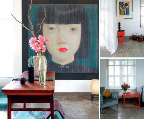 Bức tranh của nghệ sĩ Thái Lan Attasit Pokpong là điểm nhấn tuyệt đẹp của phòng khách