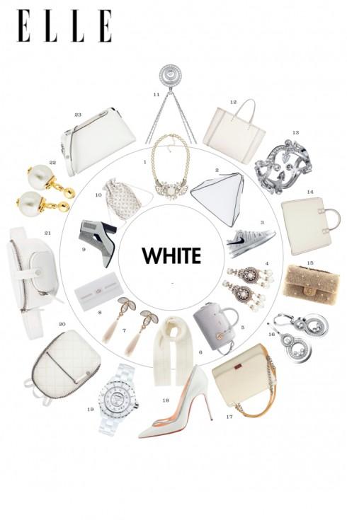 Màu trắng tinh khôi vẫn là sắc màu thời trang và thời thượng nhất!<br><br>1, 7. COAST 2. TOPSHOP 3. NIKE 4. BANANA REPUBLIC 5. FURLA 6. KAREN MILLEN 8. PEDRO 9. CHARLES &amp; KEITH 10. ACCESSORIZE 11, 16. CHOPARD 12. BOTTEGA VENETA 13, 17. CARTIER 14. VICTORIA BECKHAM 15, 19. CHANEL 18. CHRISTIAN LOUBOUTIN 20. STELLA MCCARTNEY 21. ALEXANDER WANG 22. LOUIS VUITTON 23. FENDI