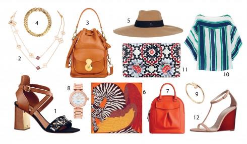 Kết hợp với: 1, 4.Louis Vuitton 2.Chopard 3.Ralph Lauren 5.Maison Michel 6.Hermès 7,12.Burberry 8.Omega 9.Cartier 10.Chloé 11.Chanel