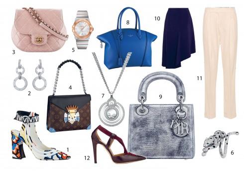 Kết hợp với: 1, 4, 8.Louis Vuitton 2, 6.Cartier 3.Chanel 5.Omega 7.Chopard 9.Christian Dior 10.Marni 11.Victoria Beckham 12.Bally