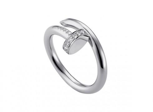 """Nhẫn """"Juste un clou"""" bằng vàng trắng 18K đính kim cương"""