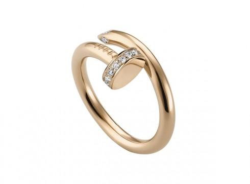 """Nhẫn """"Juste un clou"""" bằng vàng hồng 18K đính kim cương"""