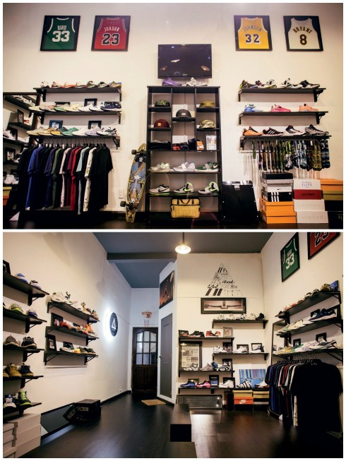Một góc trưng bày những mẫu giày và quần áo tại G-LAB. G-LAB là không gian văn hóa, mua sắm dành cho những tín đồ của giày sneakers.