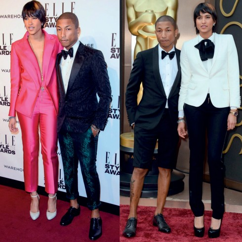 """<strong>Pharrell Williams</strong> <br><br> Pharrell có khả năng chơi đùa với quần áo một cách cực kỳ điêu luyện.  <br><br> Anh có thể kết hợp tài tình giữa sự bụi bặm đường phố của âm nhạc hip hop với chất lịch lãm thường thấy trong thời trang nam giới, rồi khéo léo thêm thắt nhiều phụ kiện như mũ fedora, khăn choàng cổ, rất nhiều sợi dây chuyền tưởng chừng như chỉ dành cho nữ. Tất cả đều tạo nên một phong cách rất riêng, rất """"Pharrell""""!"""