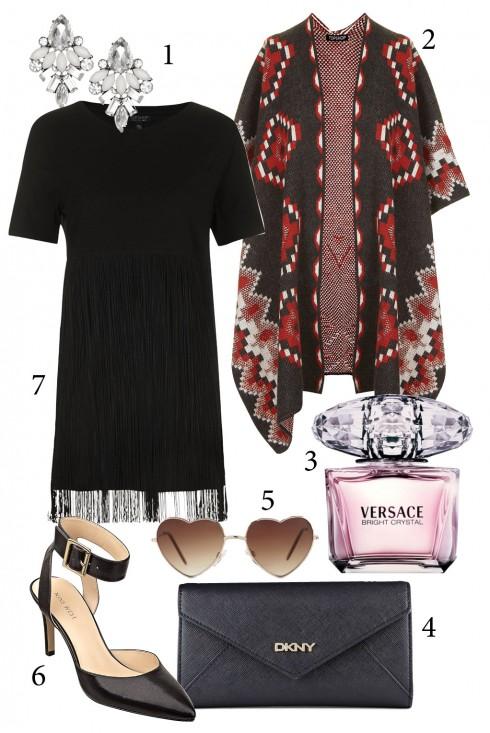 Thứ 2: Áo khoác kimono với họa tiết nổi bật kết hợp cùng đầm đen <br/>1. ACCESSORIZE 2. TOPSHOP 3. VERSACE 4. DKNY 5. ALDO 6. NINE WEST 7. TOPSHOP