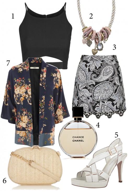 Thứ 6: Kết hợp áo khoác kimono với áo croptop cá tính cho bữa tiệc cuối tuần<br/>1, 3. TOPSHOP 2. ALDO 4. CHANEL 5. CHARLES &amp; KEITH 7. WAREHOUSE