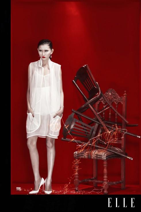 Trang phục Tú Nguyễn, Hoa tai, Vòng tay Swarovski, Giày Christian Louboutin