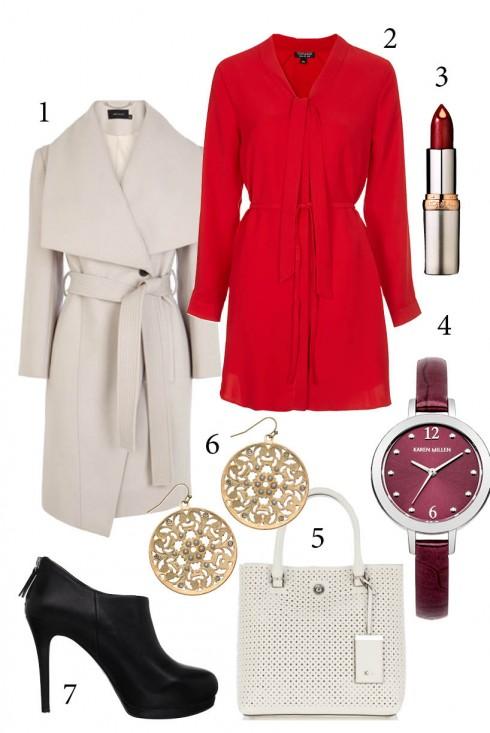 Thứ 2: Duyên dáng với đầm đỏ cùng áo khoác dáng dài<br/>1, 5. KAREN MILLEN 2. TOPSHOP 3. L'OREAL 4. KAREN MILLEN 5. ACCESSORIZE 6. NINE WEST