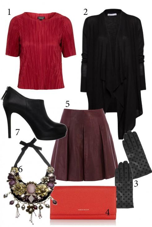 Thứ 5: Hãy thử kết hợp nhiều tông màu đỏ trong một bộ trang phục<br/>1. TOPSHOP 2. MANGO 3. TOPSHOP 4, 5. KAREN MILLEN 6. ACCESSORIZE 7. NINE WEST