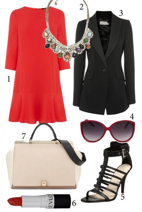 Thứ 6: Đơn giản và thanh lịch với đầm xuông và áo blazer<br/>1. OASIS 2. ACCESSORIZE 3. KAREN MILLEN 4. MANGO 5. NINE WEST 6. REVLON 7. FURLA