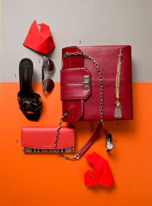 1.Giày Louis Vuitton 2.Kính mát Dior 3.Túi Cartier 4.Vòng đeo tay Louis Vuitton 5.Ví Burberry 6.Đồng hồ Cartier