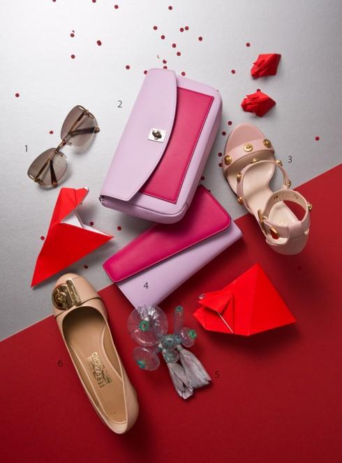 1.Kính mát Louis Vuitton 2.Ví cầm tay Dior 3.Sandals Versace 4.Cài áo Seulgi Kwon (Vivekkevin Gallery) 6.Giày Salvatore Ferragamo
