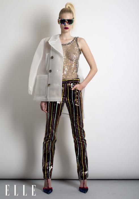 Jean Paul Gaultier<br/>Áo khoác, áo top trong suốt đính cườm, quần lụa kẻ thêu cườm Jean Paul Gaultier, Giày đính cườm, kính mát Libertine