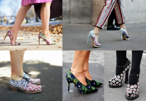 Giày họa tiết hoa cũng là một gợi ý cho các bạn đam mê mix match