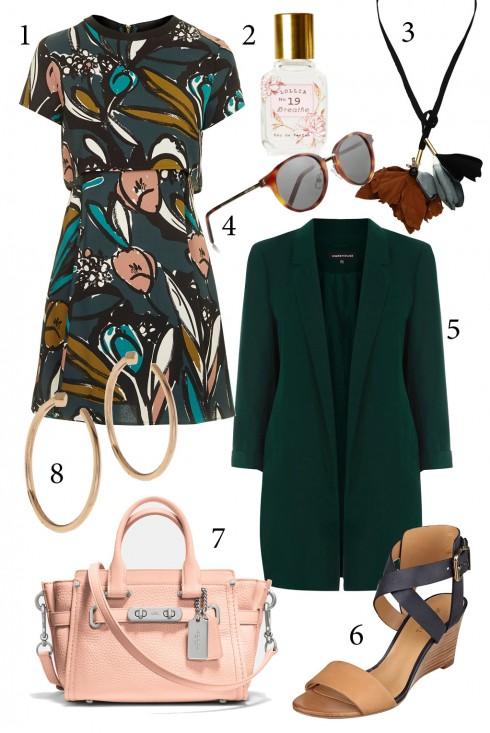 Thứ 4: Thanh lịch nơi công sở với đầm hoa kết hợp áo khoác blazer<br/>1. TOPSHOP 3. MARNI 4. SAINT LAURENT 5. WAREHOUSE 6. NINE WEST 7. COACH 8. JULIEN DAVID