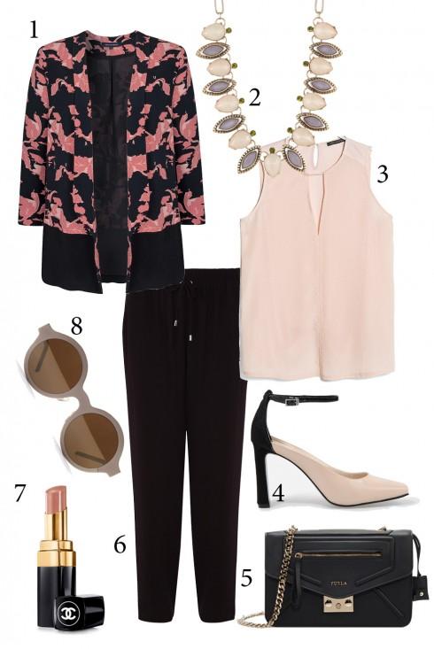Thứ 3: Nhẹ nhàng với áo vest họa tiết hoa tông màu hồng nhạt.<br/>1. FCUK 2. GRAZIANO 3. MANGO 4. CHARLES &amp; KEITH 5. FURLA 6. KAREN MILLEN 7. CHANEL 8. ASOS