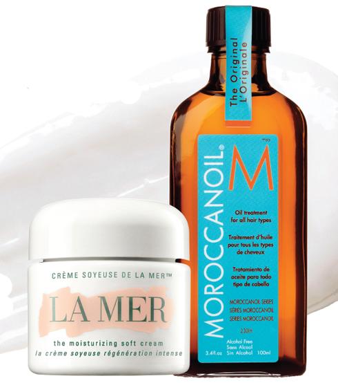 Kem dưỡng ẩm La Mer và Dầu dưỡng tóc Moroccanoil