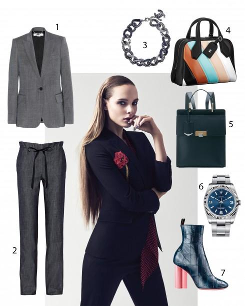 Người mẫu: Áo suit và khăn quàng cổ Saint Laurent, Quần 6357 1.Stella McCartney 2.Adam Lippes 3.Chanel 4.Louis Vuitton 5.Balenciaga 6.Rolex 7.Louis Vuitton