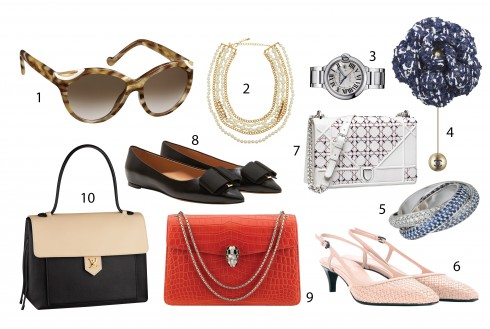 1.Charlotte Olympia 2.Kenneth Jay Lane 3.Cartier 4.Chanel 5.Cartier 6.Bottega Veneta 7.Dior 8.Salvatore Ferragamo 9.Bulgari 10.Louis Vuitton