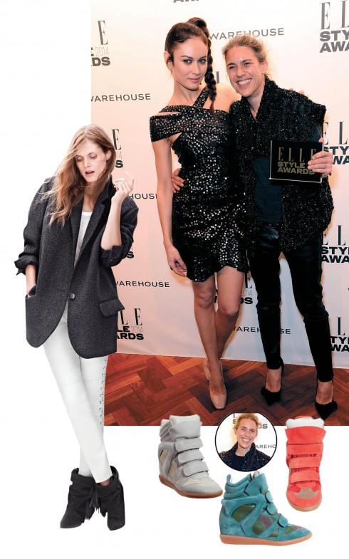 """<strong>Isabel Marant</strong> <br><br> Nhận giải """"Nhà thiết kế đương đại"""" năm 2014 của ESA, Isabel Marant hẳn không còn quá xa lạ đối với những người yêu mến thời trang. Thời trang của Isabel Marant đồng nghĩa với phong cách cool, chic đặc trưng của phụ nữ Pháp, phong thái đẹp đầy tự nhiên.  <br><Br> Bà là người sáng tạo ra những mẫu bốt cổ thấp với dây đai quấn quanh cầu kỳ và những đôi giày sneakers với phần gót cao được giấu bên trong từng tạo nên cơn sốt trong cộng đồng thời trang. BST Isabel Marant thiết kế cho H&M đã được bán ra nhanh đến mức trang chủ của hãng H&M bị sập chỉ trong vài phút."""