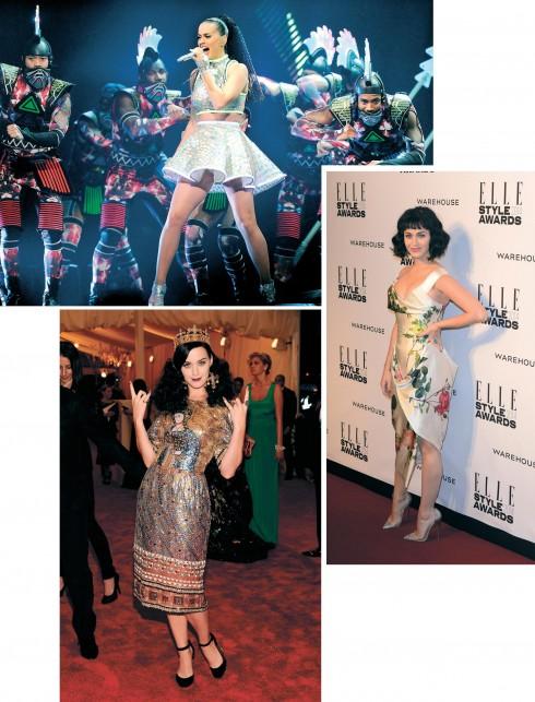 """<strong>Katy Perry</strong> <br><br> Được trao giải """"Người phụ nữ của năm"""" của ESA vào năm 2014, Katy Perry đã đánh dấu tên mình cùng với một phong cách vô cùng bay bổng với màu sắc rất nữ tính và quyến rũ. <br><br> Katy luôn muốn thể hiện sự lạ lẫm khác người của mình trong âm nhạc và cả cách ăn mặc. Mấu chốt thành công cho phong cách đặc trưng ấy là nhờ Katy biết cách chọn nguồn cảm hứng cho mình. Cô luôn dám thể nghiệm và pha trộn mọi thứ lại với nhau."""