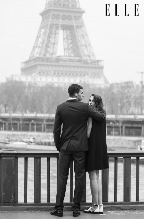Marylou: Đầm đen và áo khoác không tay Acne, Giày Chanel - Alessio: Bộ suit và giày Dior Homme