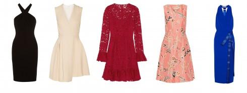 ELLE gợi ý cho bạn những mẫu váy tăng thêm vẻ gợi cảm và nữ tính MOSCHINO, VICTORIA BECKHAM, DOLCE & GABBANA, MARNI, DION LEE ( từ trái qua phải)