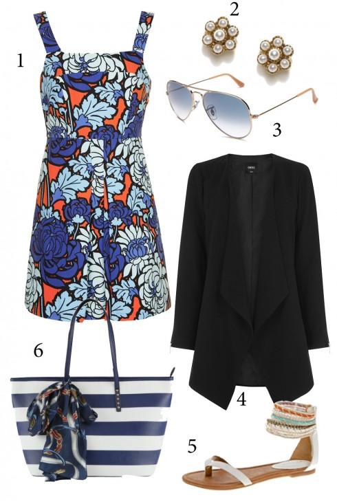 Thứ 2: Đầm hoa trẻ trung, bạn cũng có thể kết hợp thêm áo blazer diện nơi công sở.<br/>1. TOPSHOP 2. ACCESSORIZE 3. RAY-BAN 4. OASIS 5. ALDO 6. ALDO
