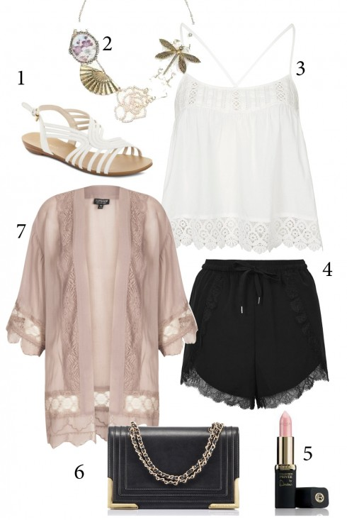 Thứ 3: Nhẹ nhàng với áo khoác kimono voan hồng đáp ren điệu đà<br/>1. NINE WEST 2. ACCESSORIZE 3, 4, 7. TOPSHOP 5. L'OREAL 6. CHARLES &amp; KEITH