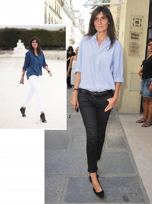 Bạn có thể dễ dàng nhận ra Emmanuelle trên đường phố trong trang phục jeans ôm sát, áo sơmi, giày cao gót và mái tóc xõa tự nhiên