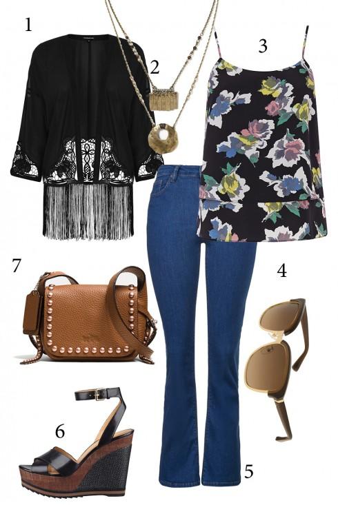 Thứ 5: Một cô nàng yêu thích phong cách 70 và hơi hippy hẳn sẽ không thể bỏ qua cách kết hợp áo kimono và quần jeans ống rộng.<br/>1. WAREHOUSE 2. BANANA REPUBLIC 3. OASIS 4. CHARLES &amp; KEITH 5. TOPSHOP 6. NINE WEST 7. COACH