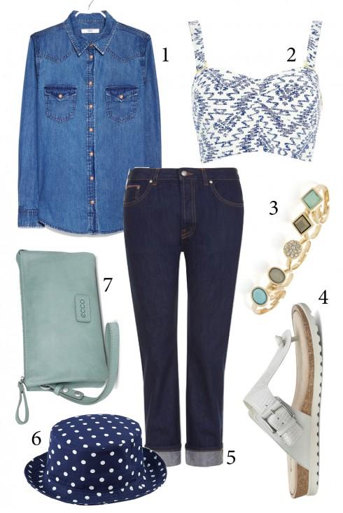 Thứ 3: Đơn giản nhưng vẫn cá tính với phong cách denim on denim: quần jeans xắn gấu,  áo croptop và đôi sandals đế bệt. <br/>1. MANGO 2. RIVER ISLAND 3. OASIS 4. ECCO 5. TOPSHOP 6. UNIQLO 7. ECCO