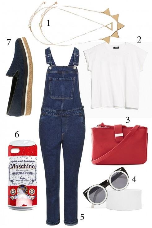 Thứ 7: Dành cho những dịp cuối tuần, bạn hãy kết hợp quần yếm jeans với áo croptop sành điệu.<br/>1. ACCESSORIZE 2. MANGO 3. WAREHOUSE 4. NASTY GAL 5. TOPSHOP 6. MOSCHINO 7. CHARLES &amp; KEITH
