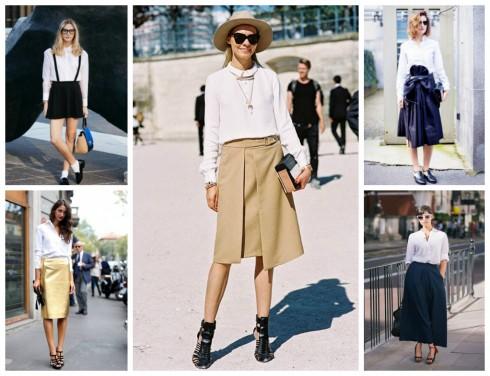 Những gợi ý phối áo sơ mi trắng với chân váy