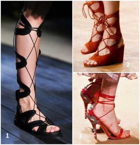 Giày sandals buộc dây xuất hiện tại show diễn thời trang Xuân- Hè 2015 1. ERDEM 2. CHLÓE 3. ETRO