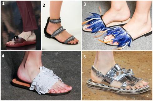 Những đôi sandals đế bệt được trang trí cầu kì trong show diễn thời trang Xuân - Hè 2015 1. CHRISTOPHER KANE 2. OSCAR DE LA RENTA 3. MSGM 4. TIBI 5. PETER SON