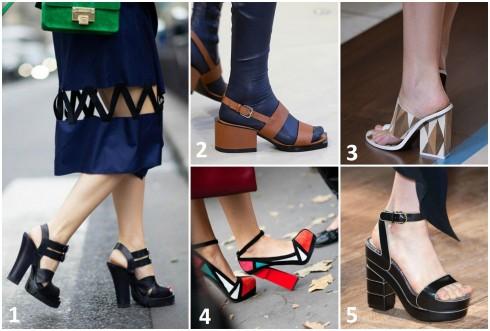 Không chỉ trên sàn diễn, street style thời trang Xuân - Hè 2015, rất nhiều fashionista cũng diện kiểu sandals này. 1. ALEXANDER WANG 2. JIL SANDER 3. TORY BURCH 4. CHARLOTTE OLYMPIA 5. SALVATORE FERRAGAMO