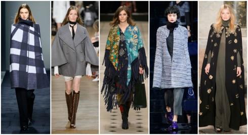 Áo khoác poncho đã trở lại sàn diễn thời trang Thu -Đông 2015. ( Từ trái qua phải: Bottega Veneta, Chlóe, Burberry Prorsum, Emporio Armani, Emilio Pucci )