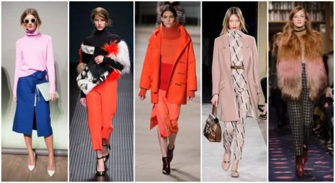 Áo cổ lọ với nhiều biến tấu mới mẻ sẽ là lựa chọn hoàn hảo cho xu hướng thời trang Thu - Đông 2015. ( Từ trái sang phải: J- Crew, MSGM, Prabal Gurung, Tod's, Sonia Rykiel )