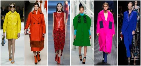 Các mẫu thiết kế với màu sắc nổi bật, chi tiết cắt xẻ ấn tượng chinh phục sàn diễn thời trang Thu- Đông 2015.  Miu Miu, Fendi, Christopher Kane, Delpozo, MSGM, Diane von Furstenberg ( từ trái qua phải)