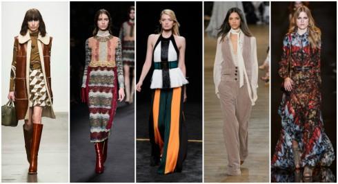 xu-huong-thời-trang-thu-đông-2015-thap-nien-70 Xu hướng thời trang Thu - Đông 2015 là sự lên ngôi của phong cách nữ tính, nhẹ nhàng và cổ điển của thập niên 70s. ( Từ trái qua phải: Karen Walker, Valentino, Balmain, Chloe, Elie Saab )