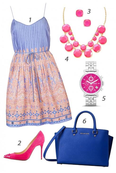 Chủ nhật thư giãn với váy đầm hai dây và phụ kiện tươi tắn. <br/><br/> 1. TOPSHOP - 2. ONLYMAKER - 3. MACY'S - 4. SHAMELESSLY SPARKLY - 5. FOSSIL<br/>CN Style Calendar 30/03 - 05/04