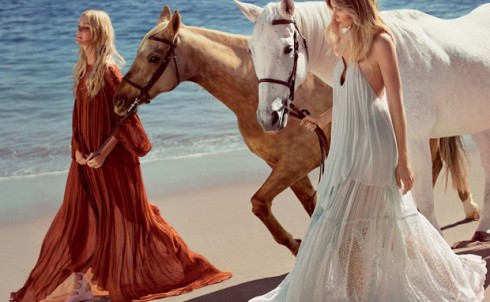 Hình ảnh quảng cáo Xuân Hè 2015 của hãng thời trang Chlóe mang phong cách thập niên 70