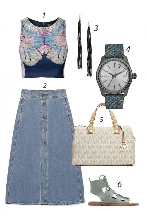 Thứ hai đầu tuần nữ tính với váy jeans dáng dài. <br/><br/> 1. INDIKAH 2. ZARA 3. H&M 4. DIESEL 5. MICHAEL KORS 6. ZARA<br/>ELLE Style Calendar (06/04 – 12/04) – Cách phối đồ Jeans năng động