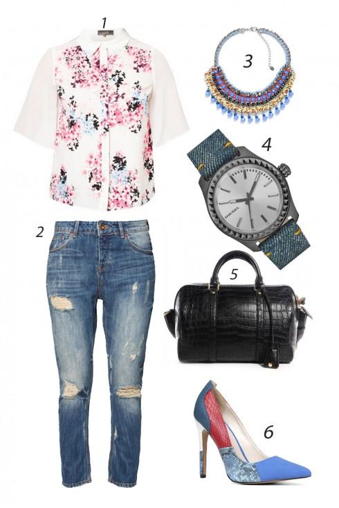 Thứ ba tiếp tục nữ tính với áo sơ mi hoa cách điệu và quần jeans xé rách. <br/><br/> 1. DOROTHY PERKINS 2. ZARA 3. ZARA 4. DIESEL 5. LOUIS VUITTON 6. ALDO<br/>ELLE Style Calendar (06/04 – 12/04) – Cách phối đồ Jeans năng động